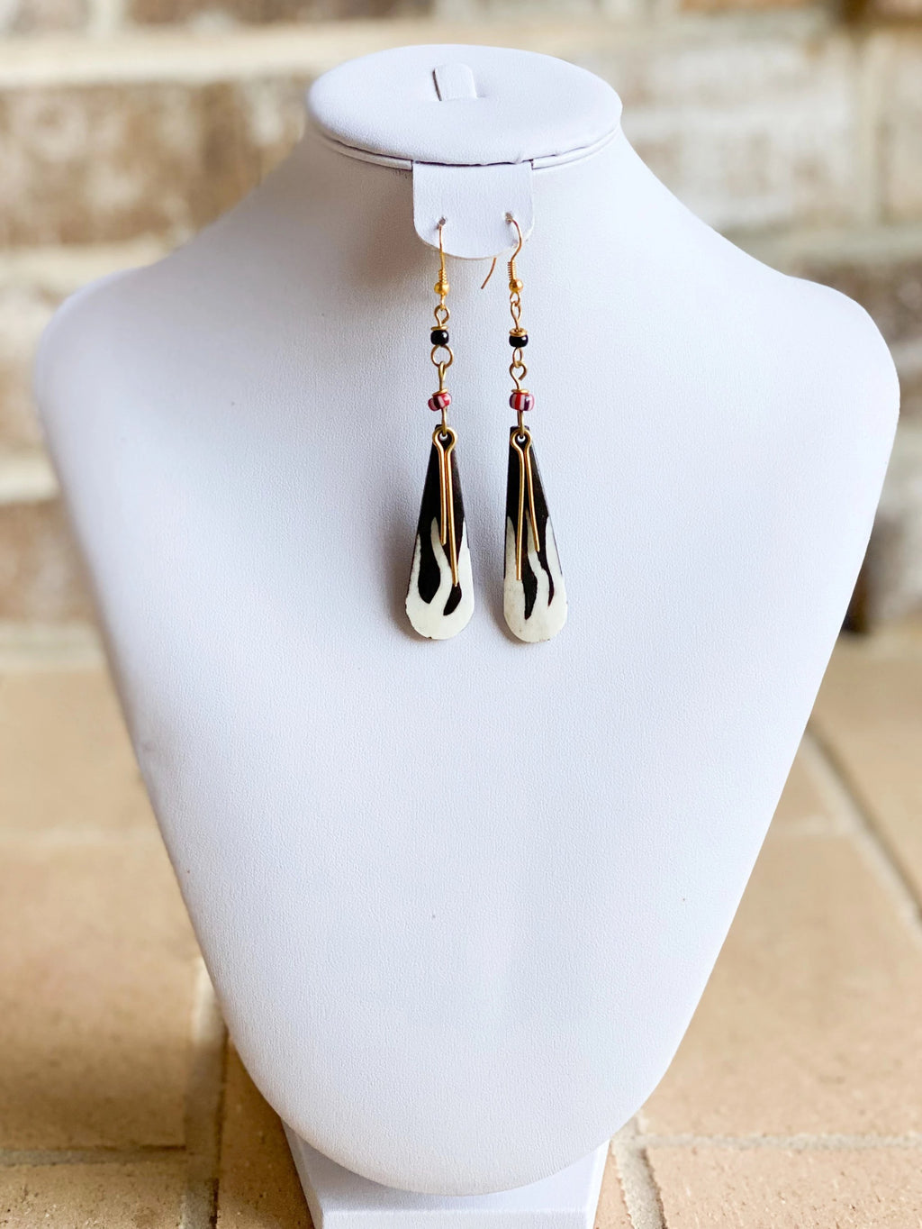 Kenyan Bone and Brass Eno Earrings