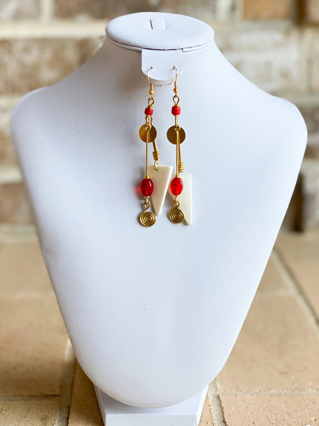 Kenyan Bone and Brass Mora Earrings