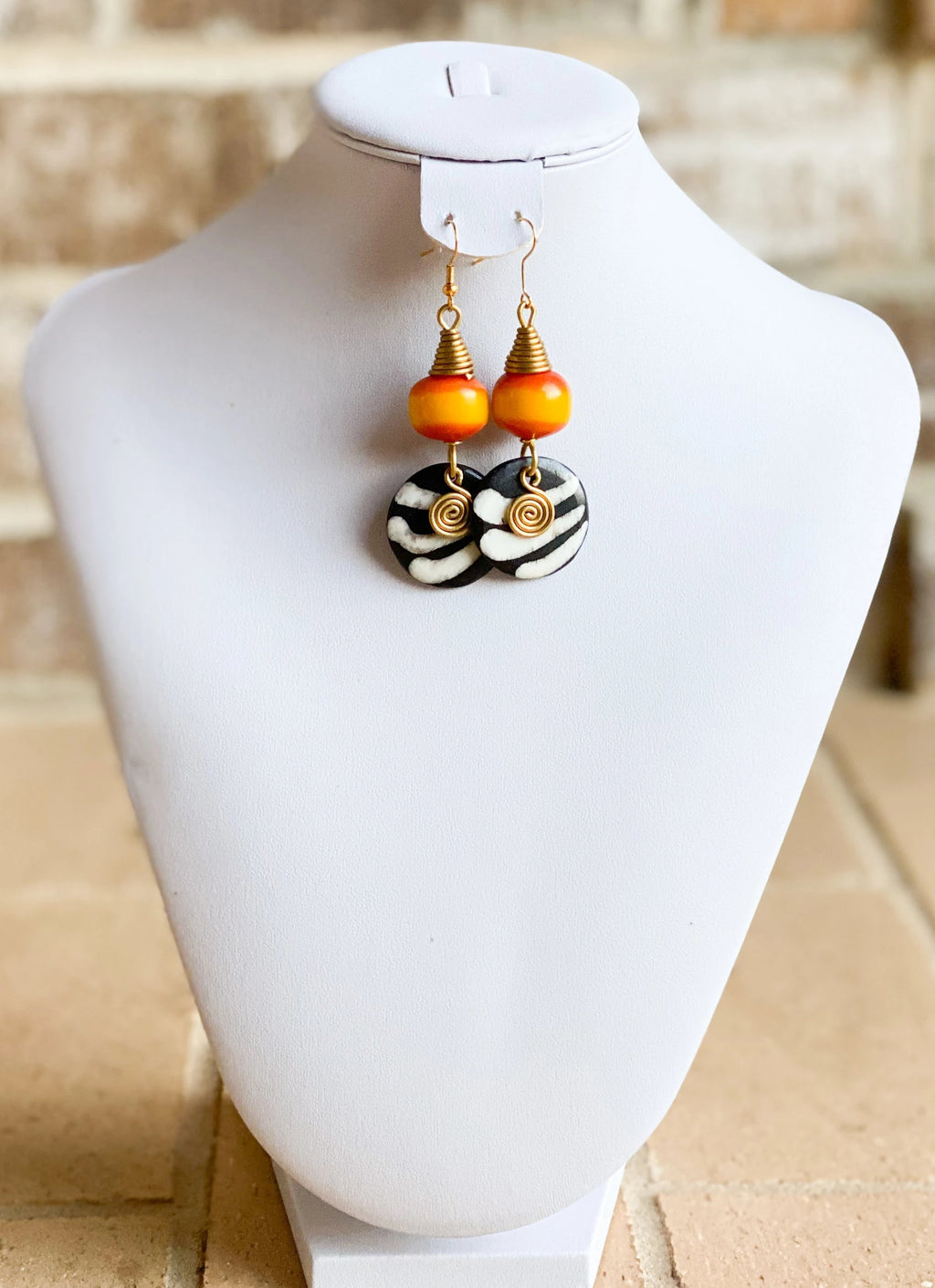 Kenyan Bone and Brass Mustard Ball Earrings