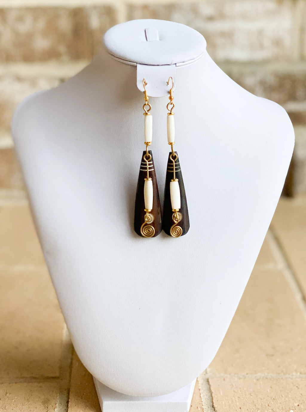 Kenyan Bone and Brass Modu Earrings