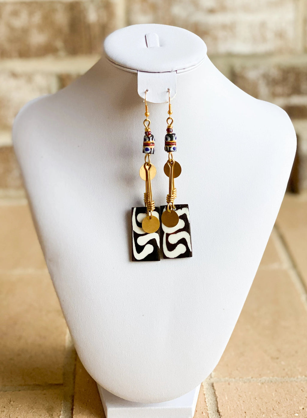 Kenyan Bone and Brass Rectangular Earrings