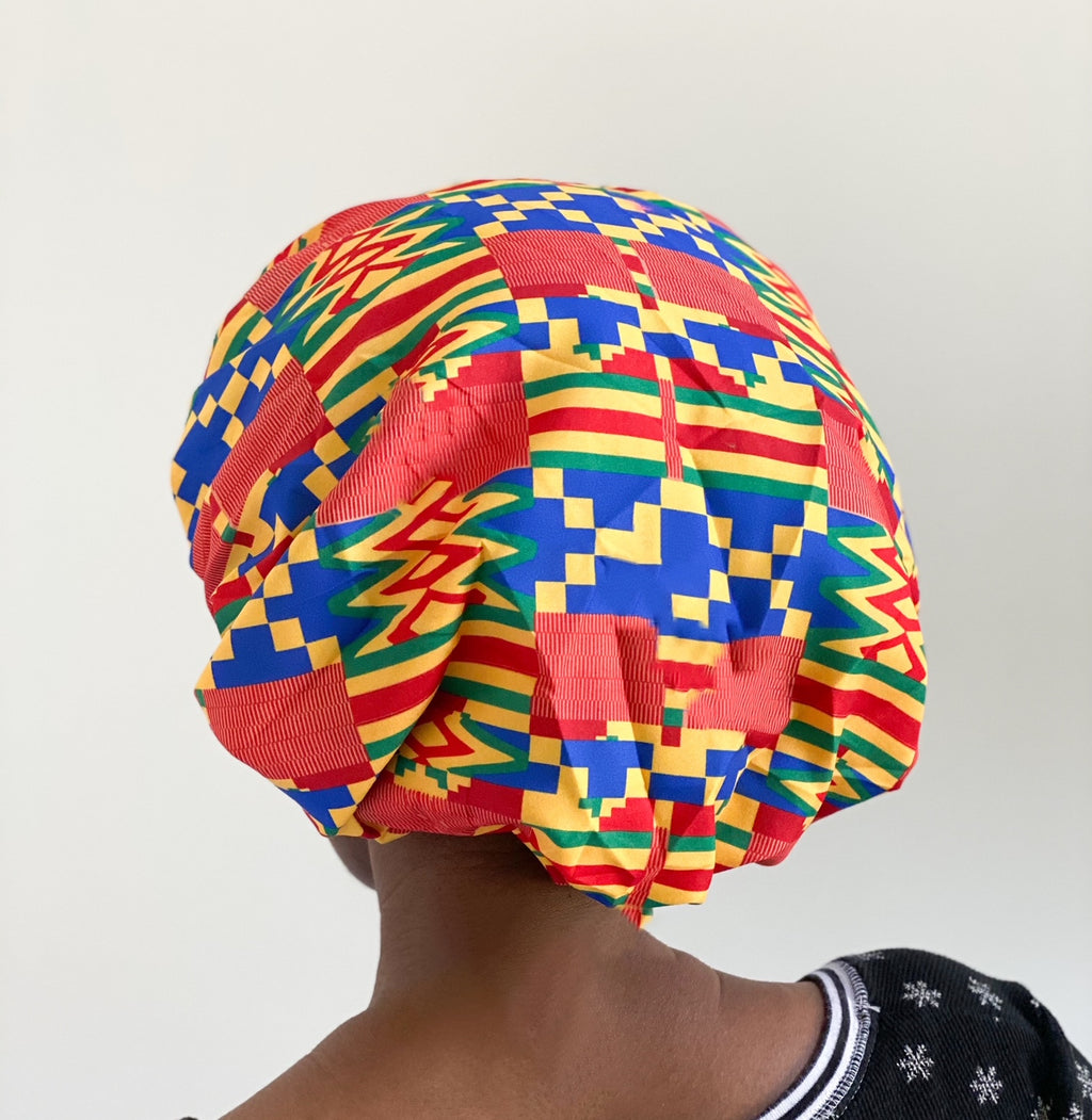 African Print Satin Lined Sleep Bonnet