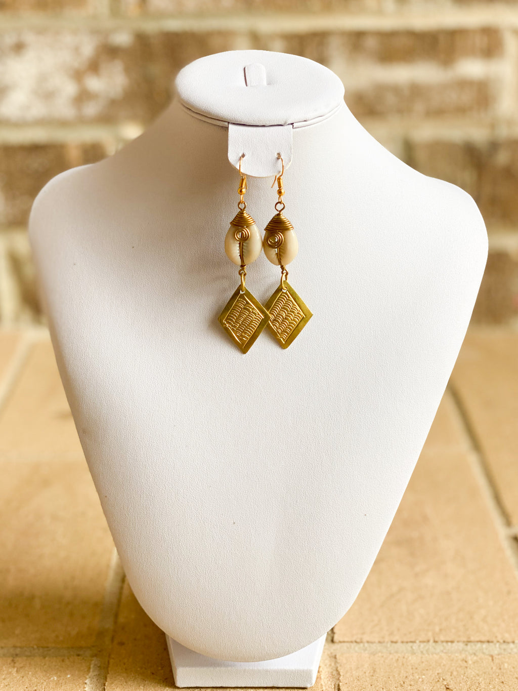 Diamond Shaped Brass & Cowrie Earrings