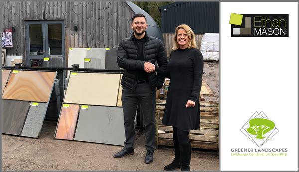Costas Marcou (Sales Manager of Ethan Mason Paving) with Lucy Green (Director of Greener Landscapes)