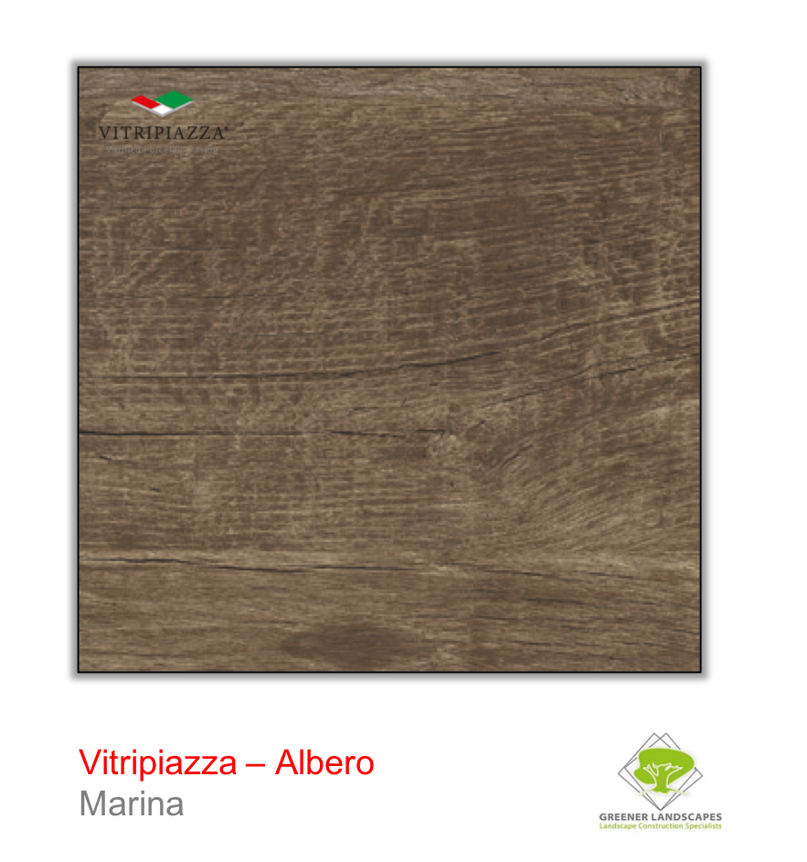 A picture of porcelain paving from the Vitripiazza collection. Pictured is the Albero tile colour option Marina.