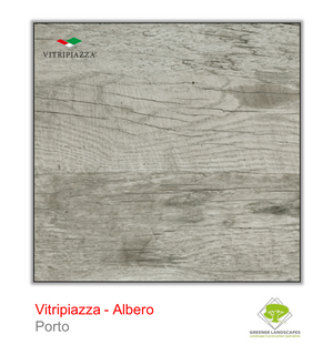 Open image in slideshow, A picture of porcelain paving from the Vitripiazza collection. Pictured is the Albero tile colour option Porto.