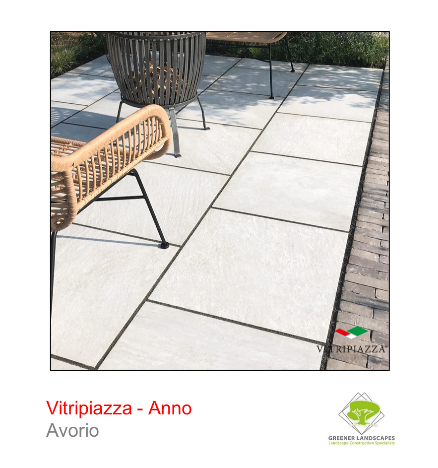 Vitripiazza porcelain paving by Talasey Group in Avorio.