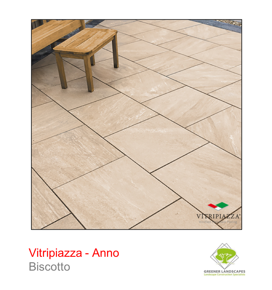 Vitripiazza porcelain paving by Talasey Group in Biscotto.
