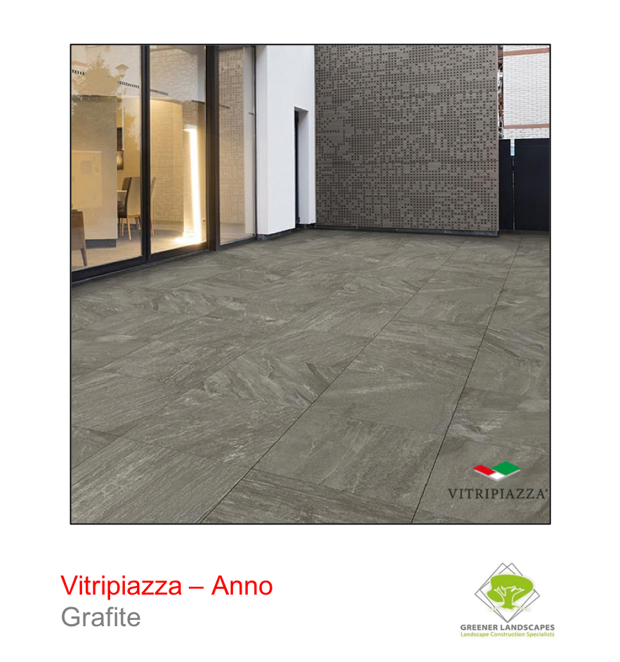 Vitripiazza porcelain paving by Talasey Group in Grafite