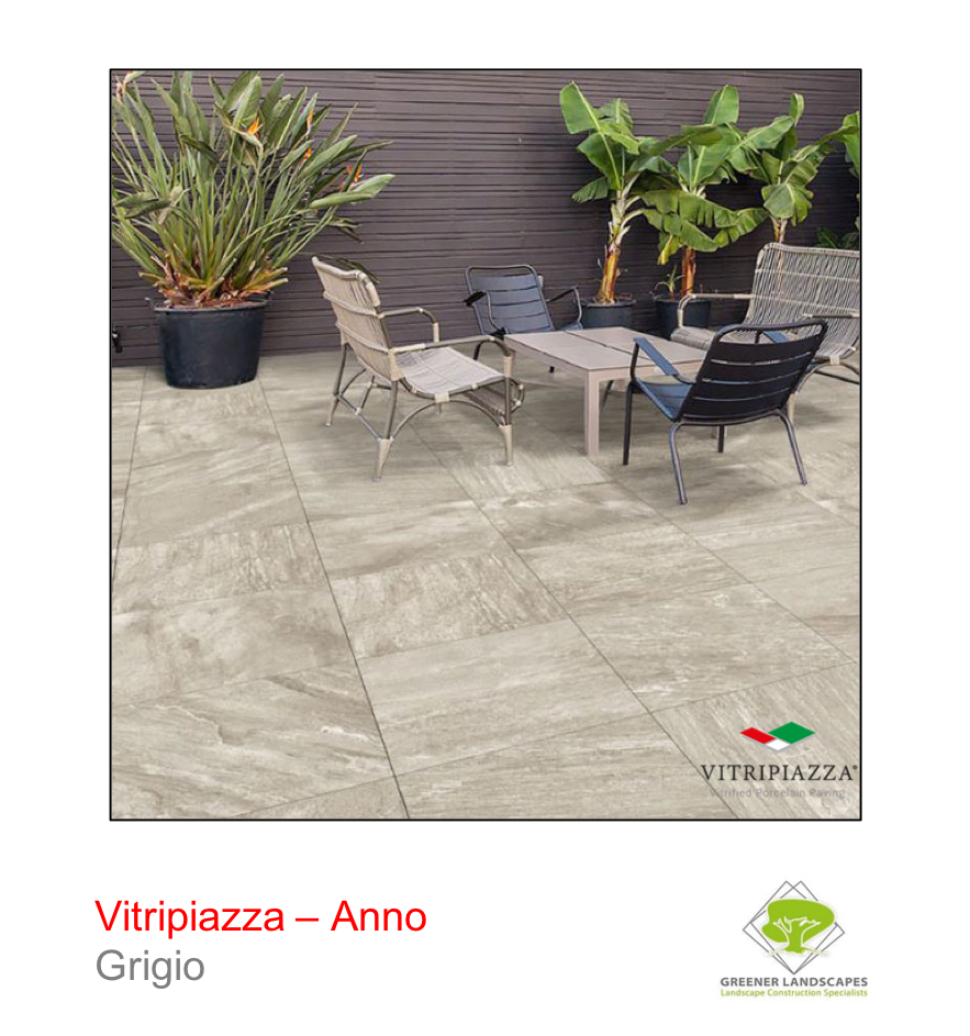 Vitripiazza porcelain paving by Talasey Group in Grigio.