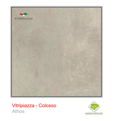 A picture of porcelain paving from the Vitripiazza collection. Pictured is the Colosso tile colour option Athos.