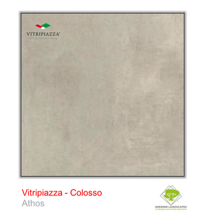 Open image in slideshow, A picture of porcelain paving from the Vitripiazza collection. Pictured is the Colosso tile colour option Athos.