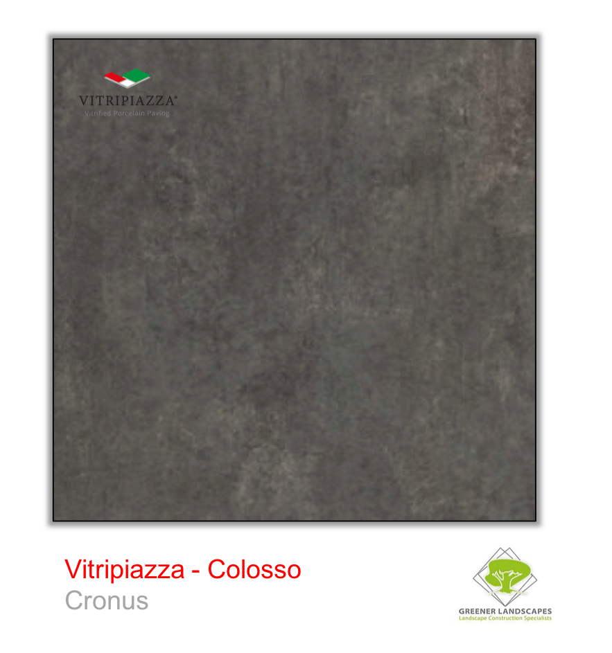A picture of porcelain paving from the Vitripiazza collection. Pictured is the Colosso tile colour option Cronus.