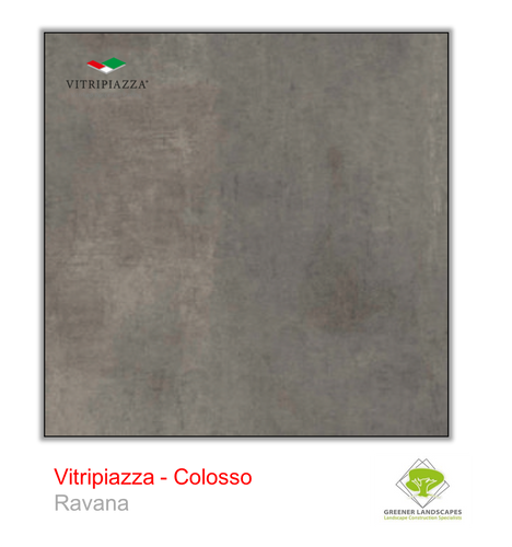 A picture of porcelain paving from the Vitripiazza collection. Pictured is the Colosso tile colour option Ravana.