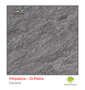 A picture of porcelain paving from the Vitripiazza collection. Pictured is the Di Pietra tile colour option Cenere.