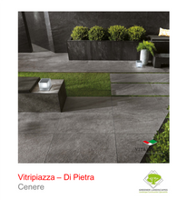 Load image into Gallery viewer, A picture of the Di Pietra tile from the Vitripiazza Porcelain Paving Collection pictured in Cenere.