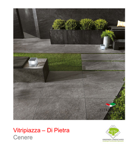 A picture of the Di Pietra tile from the Vitripiazza Porcelain Paving Collection pictured in Cenere.