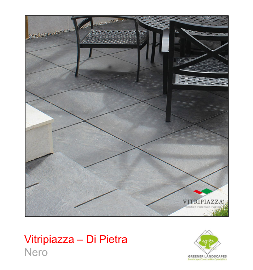 A picture of the Di Pietra tile from the Vitripiazza Porcelain Paving Collection pictured in Nero.