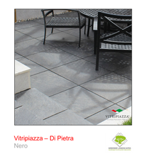 Load image into Gallery viewer, A picture of the Di Pietra tile from the Vitripiazza Porcelain Paving Collection pictured in Nero.