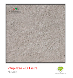 A picture of porcelain paving from the Vitripiazza collection. Pictured is the Di Pietra tile colour option Nuvola.