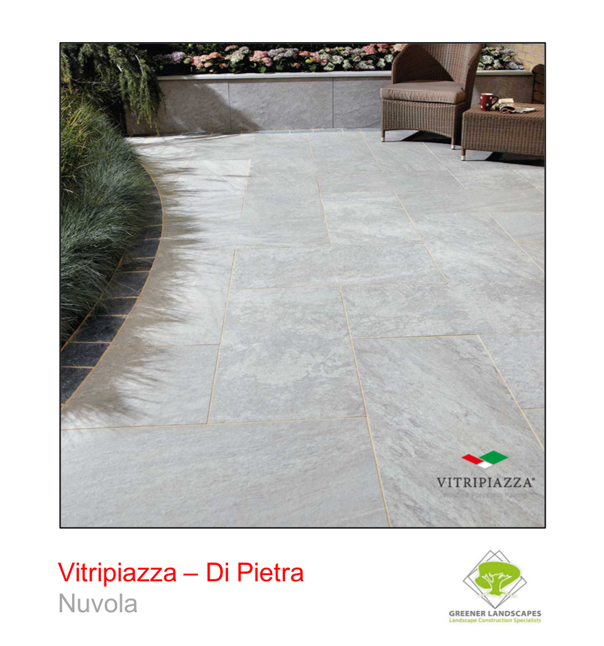 A picture of the Di Pietra tile from the Vitripiazza Porcelain Paving Collection pictured in Nuvola.