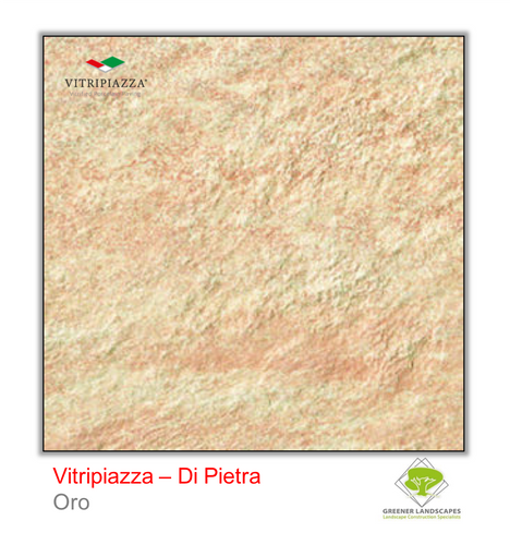 A picture of porcelain paving from the Vitripiazza collection. Pictured is the Di Pietra tile colour option Oro.
