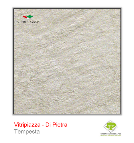 A picture of porcelain paving from the Vitripiazza collection. Pictured is the Di Pietra tile colour option Tempesta.