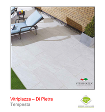 Load image into Gallery viewer, A picture of the Di Pietra tile from the Vitripiazza Porcelain Paving Collection pictured in Tempesta.