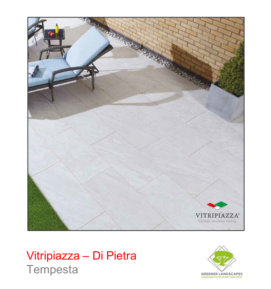 A picture of the Di Pietra tile from the Vitripiazza Porcelain Paving Collection pictured in Tempesta.