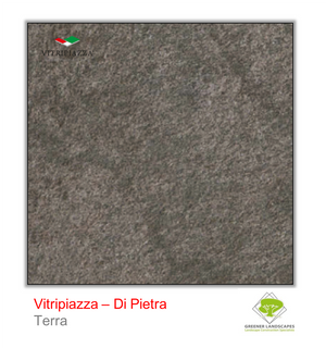 Open image in slideshow, A picture of porcelain paving from the Vitripiazza collection. Pictured is the Di Pietra tile colour option Terra.