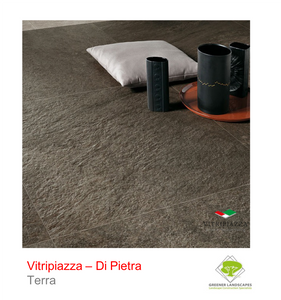 A picture of the Di Pietra tile from the Vitripiazza Porcelain Paving Collection pictured in Terra.