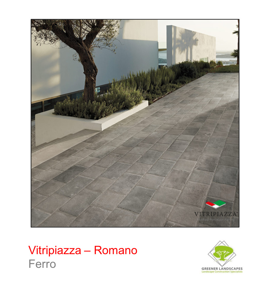 Vitripiazza Romano Porcelain paving tile by Talasey in Ferro