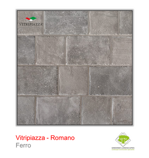 Open image in slideshow, Vitripiazza Romano Porcelain paving tile by Talasey in Ferro