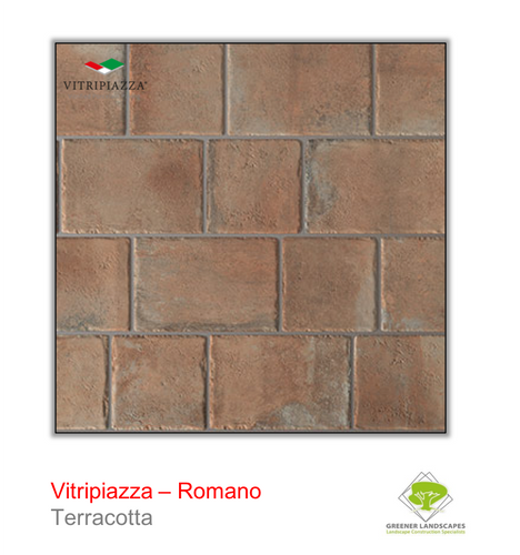 Vitripiazza Romano Porcelain paving tile by Talasey in Terracotta