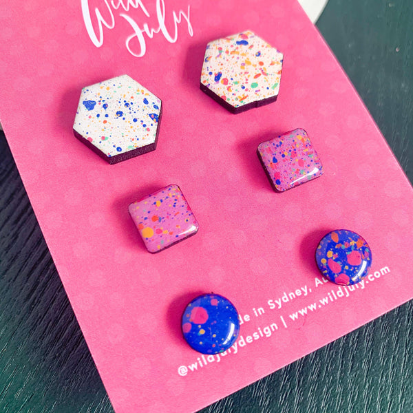 RAINBOW SPLATTER Triple STUD PACK