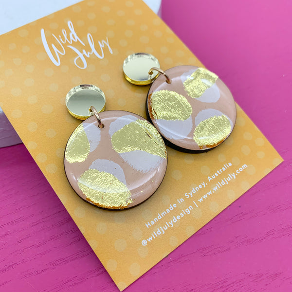 BRUSH FOIL Midi Round Dangles