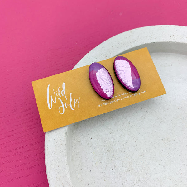BRUSH FOIL Midi Oval Studs *CHOOSE COLOUR*