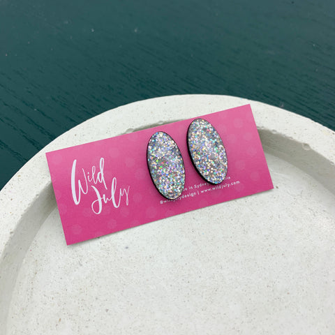 HOLO GLITTER Midi Oval Studs *CHOOSE COLOUR*