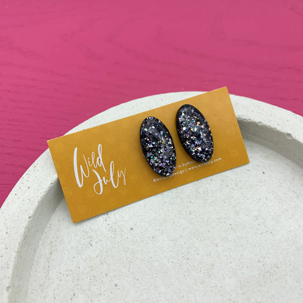 SPARKLE Midi Oval Studs *CHOOSE COLOUR*