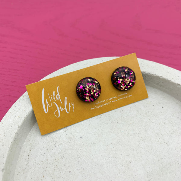 SPARKLE Mini Round Studs 15mm *CHOOSE COLOUR*