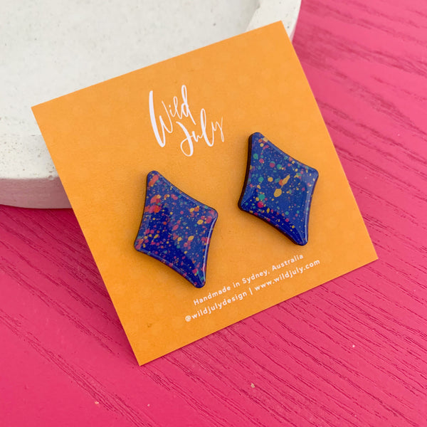 RAINBOW SPLATTER Mega Diamond Studs