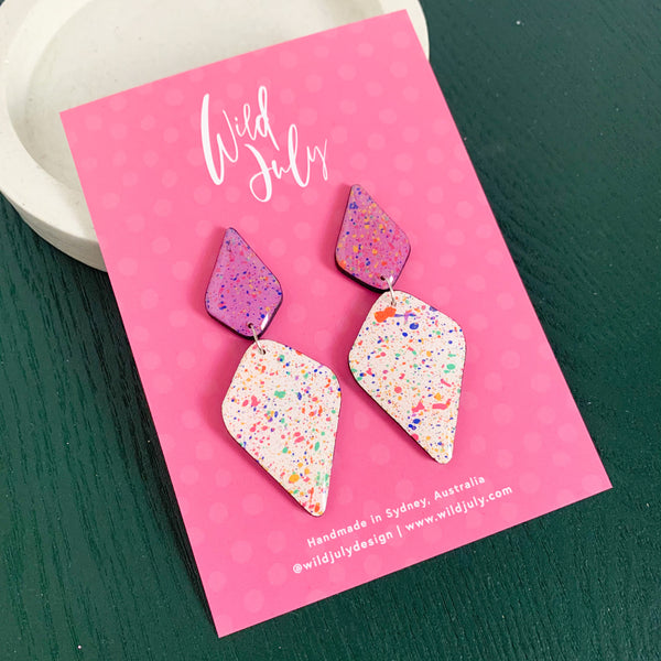 RAINBOW SPLATTER Mega Diamond Dangles