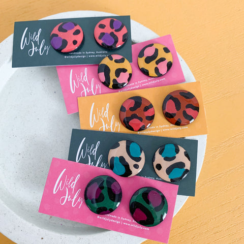 LEOPARD Midi Round Studs 20mm *CHOOSE COLOUR*