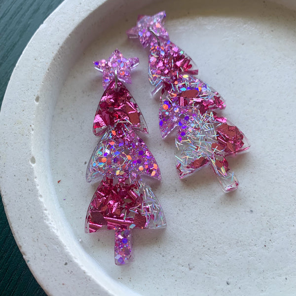 Mega Sparkle CHRISTMAS Tree Dangles - Pink/Purple/Silver