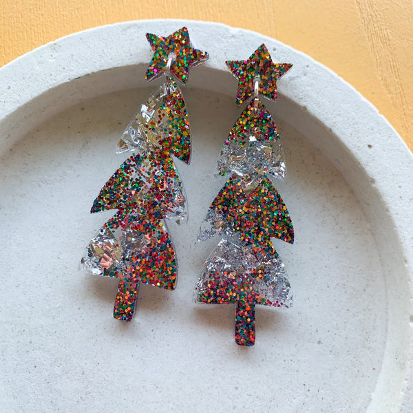 Mega Sparkle CHRISTMAS Tree Dangles - Rainbow/Silver
