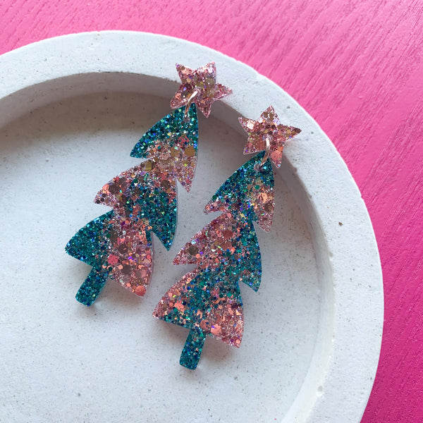 Mega Sparkle CHRISTMAS Tree Dangles - Teal/Rose Gold
