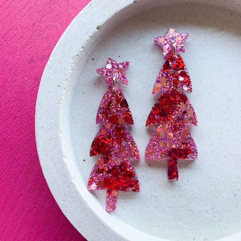 Mega Sparkle CHRISTMAS Tree Dangles - Pink/Red