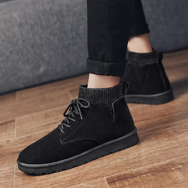 Suede Lace Up Cold-proof Men's Boots