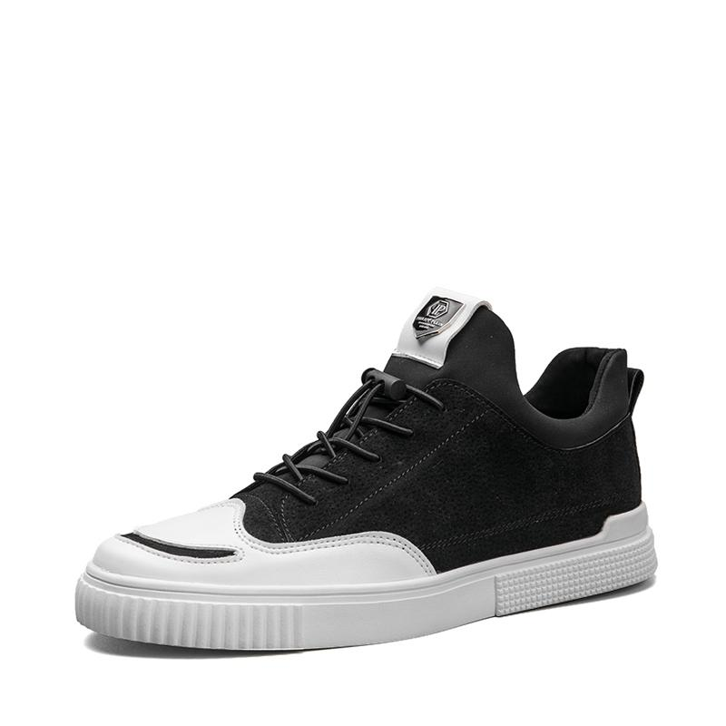 Pigskin Leather Elastic Band Men's Sneakers