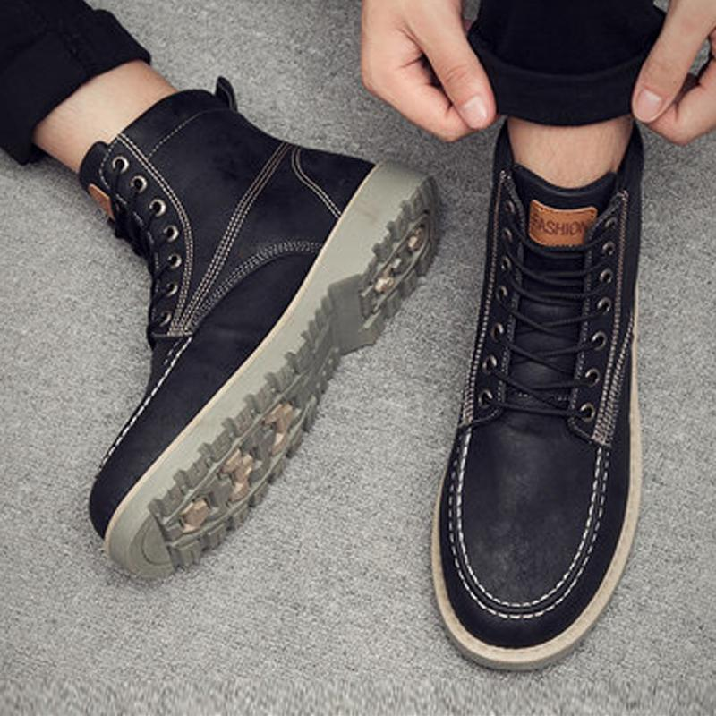 Leather Lace Up Waterproof Men's Boots